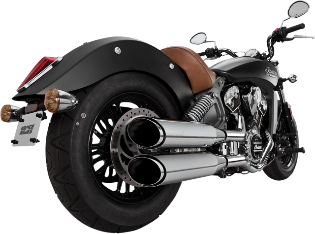 Vance & Hines Chrome Twin Slash Exhaust Mufflers for 15-16 Indian Scout