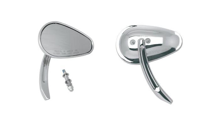 Drag Specialties Chrome Teardrop Screw in Motorcycle Handlebar Mirrors