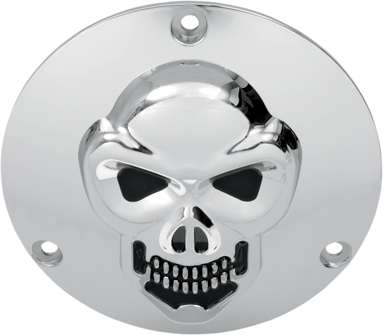 Drag Specialties Chrome 3-D Skull 3 Hole Derby Cover 69-99 Harley Davidson FXDL