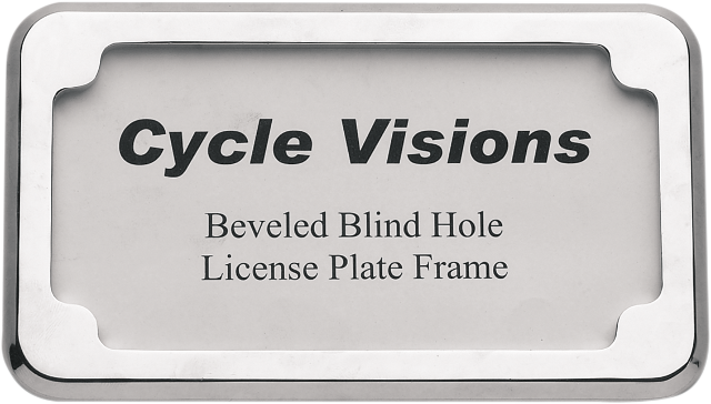 "Cycle Visions Chrome 4"" x 7"" Beveled Universal Rear Flat license Plate Frame"