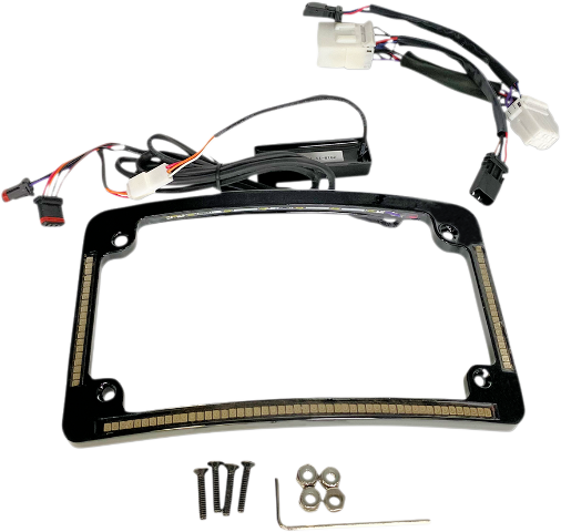 Custom Dynamics Black LED License Plate Frame 96-13 Harley Dyna Touring Softail