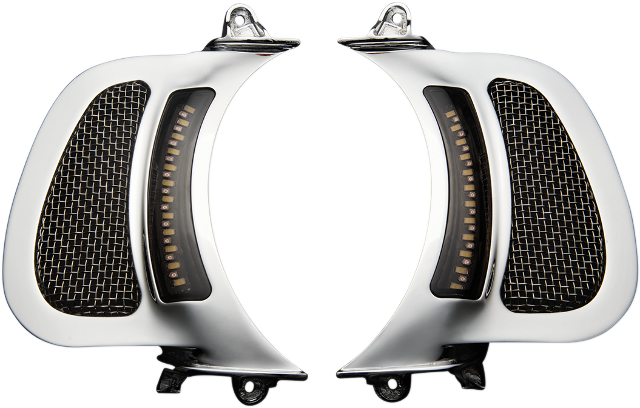 Custom Dynamics Chrome LED Fairing Vent Insert for 15-19 Harley FLTRX FLTRU
