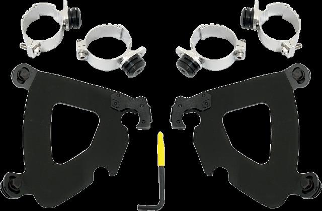 Black 49mm Gauntlet Fairing Trigger Lock Mount Dyna Street Bob FXDB 2007–2017 16