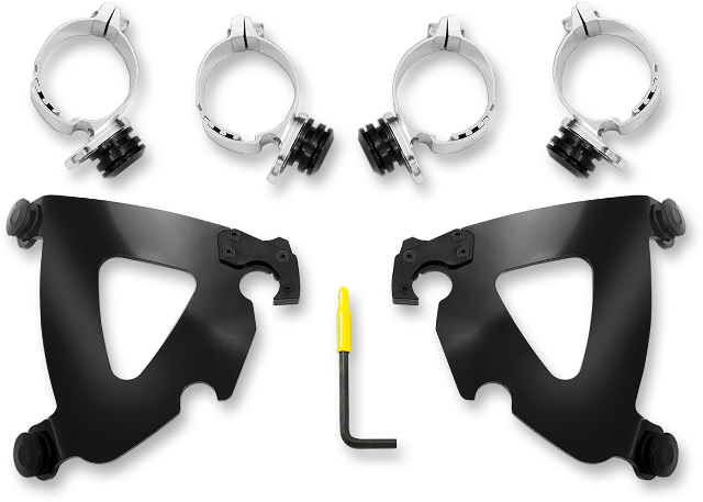 Memphis Shades Road Warrior Black Fairing Mounting Kit 06-17 Harley FXDB FXDL
