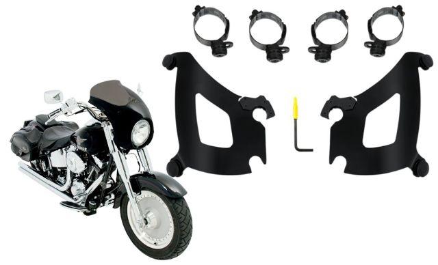 Memphis Shades Bullet Fairing & Black Mount Kit for 18-19 Harley Softail FLSB