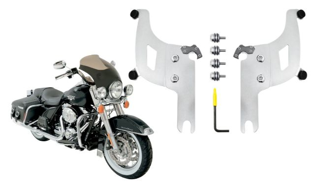 Memphis Shades Bullet Fairing & Polished Mount Kit for 04-19 Harley Road King