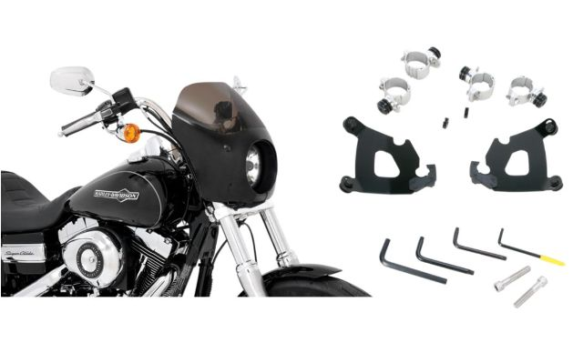 Memphis Shades Cafe Fairing & Black Mount Kit for 10-15 Harley Sportster XLX 48