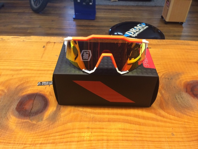100% Hiper Orange White Tr90 Speedcraft Dual Sport Unisex Wrap Around Sunglasses