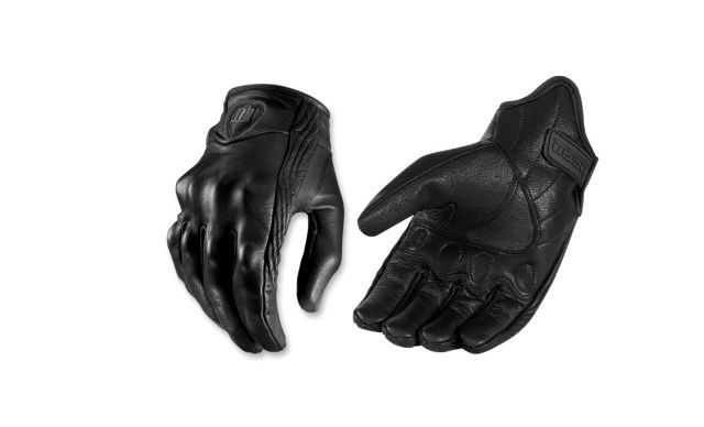 Icon Unisex Leather Stealth Pursuit 3XL Motorcycle Riding Street Racing Gloves