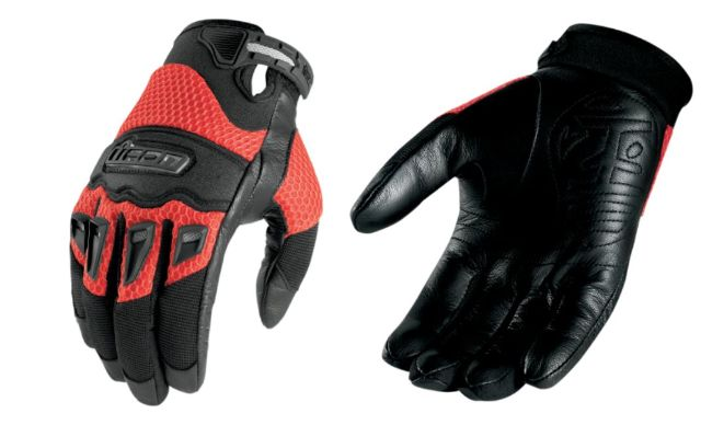 Icon 29er Mens Red Small Leather Textile Motorcycle Riding Street Racing Gloves