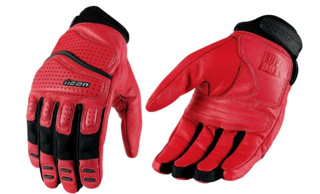 Icon SuperDuty 2 Leather Mens Red Medium Motorcycle Riding Street Racing Gloves