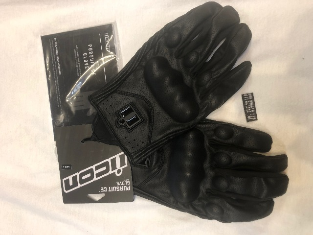 Mens Icon black pursuit touchscreen device compatible motorcycle gloves