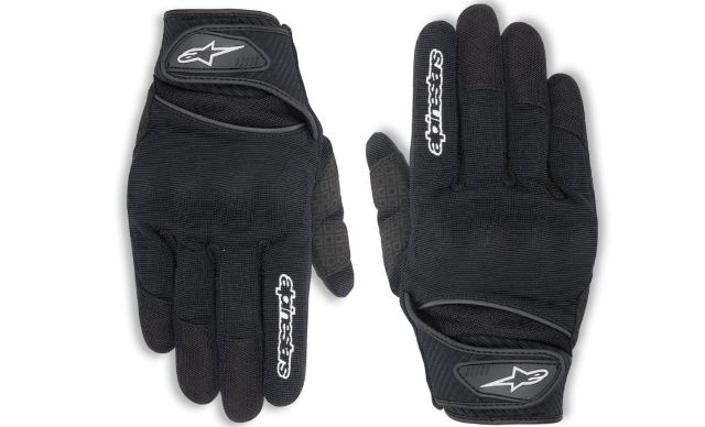 Alpinestars Mens Black Spartan Textile Vented Motorcycle Riding Gloves