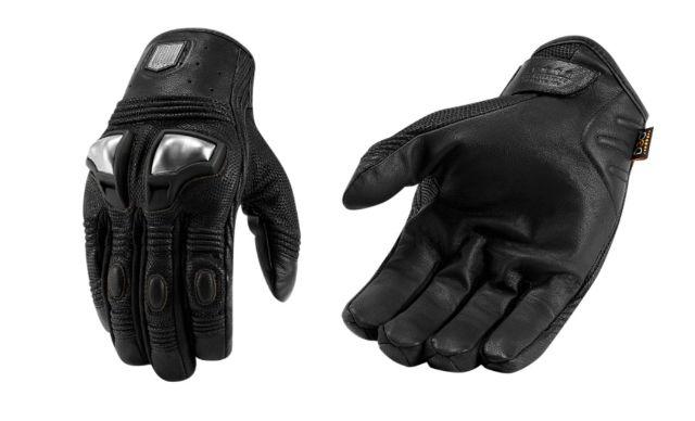 Icon Retrograde Mens Black Medium Motorcycle Riding Street Racing Gloves