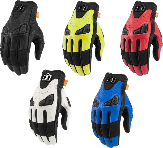 Icon Automag 2 Mens Leather Short Cuff Motorcycle Riding Street Racing Gloves