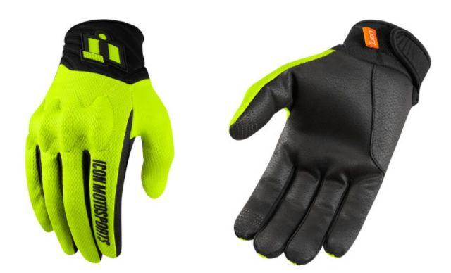 Icon Anthem 2 CE Hi-Viz Mens Textile Motorcycle Riding Street Racing Gloves
