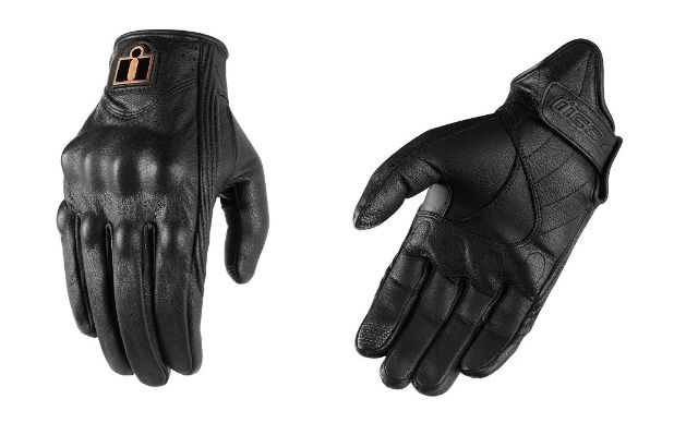 Icon Mens Black Leather Pursuit Pair Motorcycle Riding Street Racing Gloves