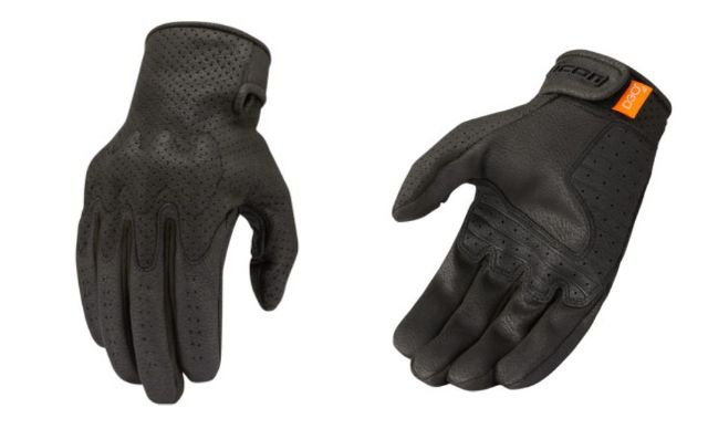 Icon Airform Mens Black Leather Motorcycle Riding Street Racing Gloves