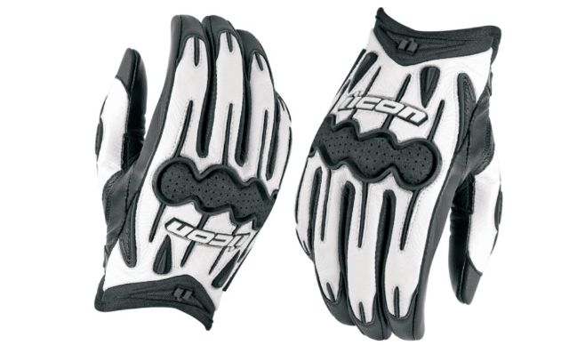Icon Arc Womens Black White Small Leather Motorcycle Riding Street Racing Gloves