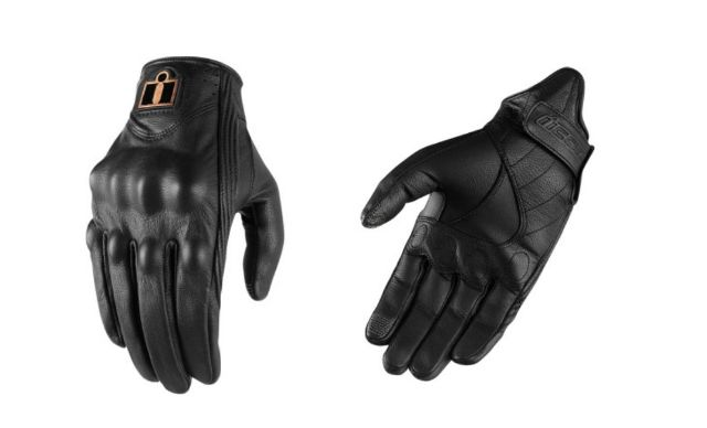Icon Womens Pursuit Black Motorcycle Riding Street Racing Leather Armor Gloves