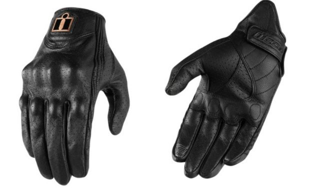 Icon Womens Pursuit Perforated Black Motorcycle Riding Street Racing Gloves