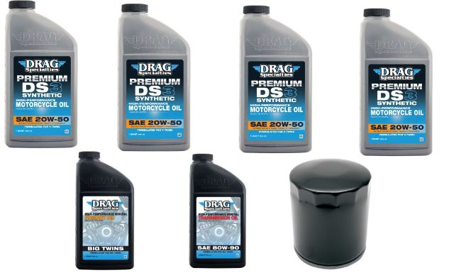Drag Specialties 20W-50 Synthetic Oil & Black Filter Kit 99-17 Harley Touring
