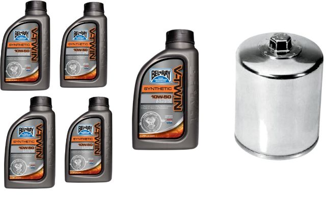 Bel Ray Synthetic Oil Change Kit & Chrome Filter 99-19 Harley Touring Softail