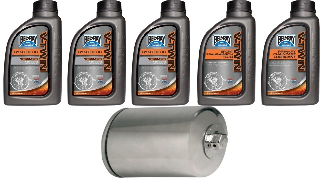Bel Ray Synthetic Oil Change Kit & Chrome Filter for 86-19 Harley Sportster XL