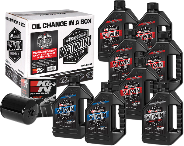 Maxima Synthetic Oil & Black Filter Kit for 17-19 Harley M8 Touring Softail FXFB