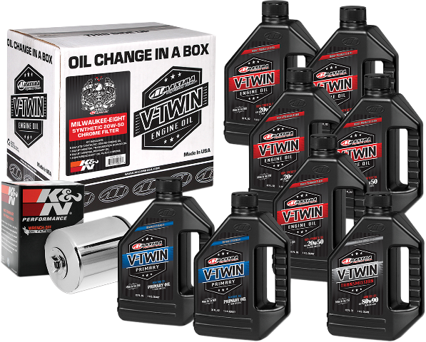 Maxima Synthetic Oil & Chrome Filter Kit for 17-19 Harley M8 Touring Softail
