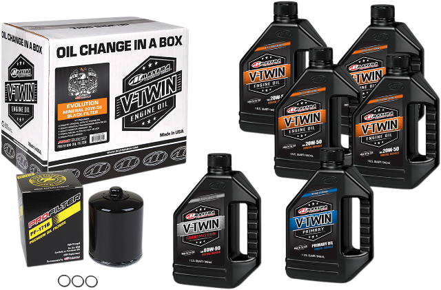 Maxima Oil Change Kit & Black Filter for 84-99 Harley Dyna Touring Softail XL