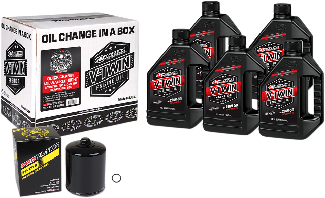 Maxima M8 Oil Quick Change Kit & Black Filter for 17-20 Harley Touring Softail