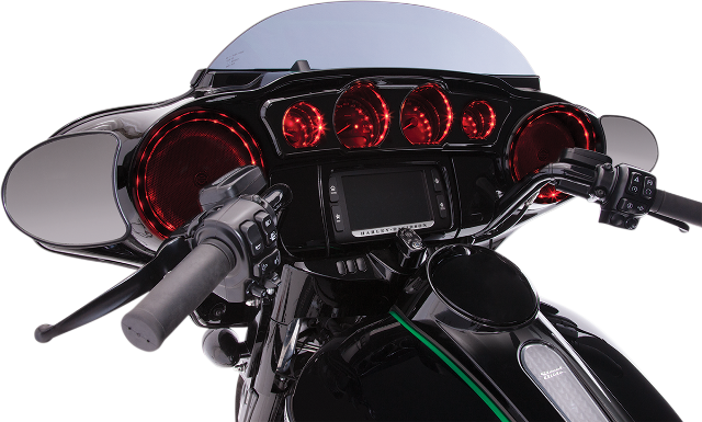 Ciro Black LED Speaker Trim Lights 14-20 Harley Touring FLHX FLHT FLHTK FLHTCU