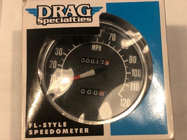 "Drag Specialties 1:1 MPH 5"" Motorcycle Speedometer Speedo 62-83 Harley Touring"