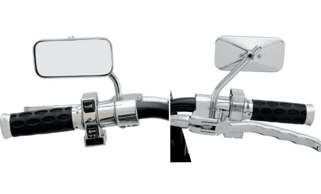 Drag Specialties Chrome Rectangle Motorcycle Side View Handlebar Mirror Set