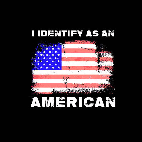 JT's Cycles I Identify as an American Mens Short Sleeve Patriotic T-shirt