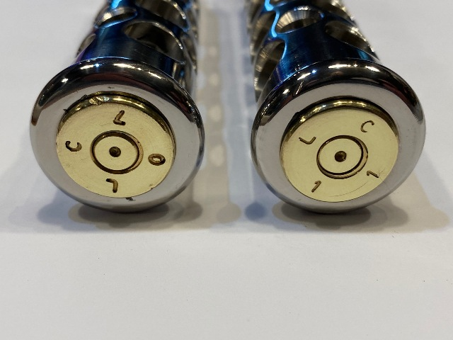 JT's Cycles Stainless Steel Genuine .50 Caliber BMG Bullets Footpegs for Harley