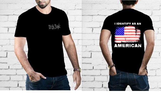JT's Cycles Mens We The People Identify as American Casual Short Sleeve T-Shirt