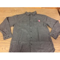 Klock Werks Gray Cotton Collared Long Sleeve Pocket Flannel Shop Shirt