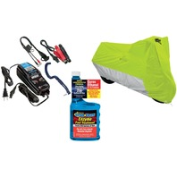 Large Motorcycle Cover, Battery Charger & Fuel Treatment Winterized Storage