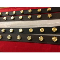"JT's Cycles Genuine Leather Once Fired .50 Cal Brass Custom 1.25"" Dog Collars"