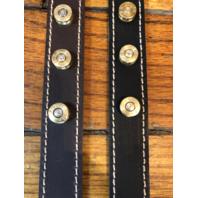 """Genuine Black or Brown Leather Once Fired Military 7.62 Bullets 1"""" Dog Collar"""