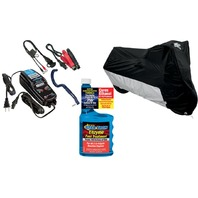 Medium Motorcycle Cover, Battery Charger & Fuel Treatment Winterized Storage