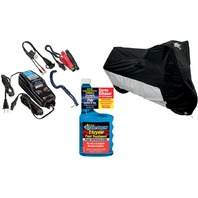 XXL Motorcycle Cover Battery Power charger & Fuel Treatment Winterized Storage