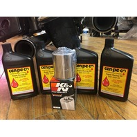 Cenpeco 4qt SAE 20W-50 Oil & Chrome K&N Filter 99-17 Harley Dyna Touring Softail