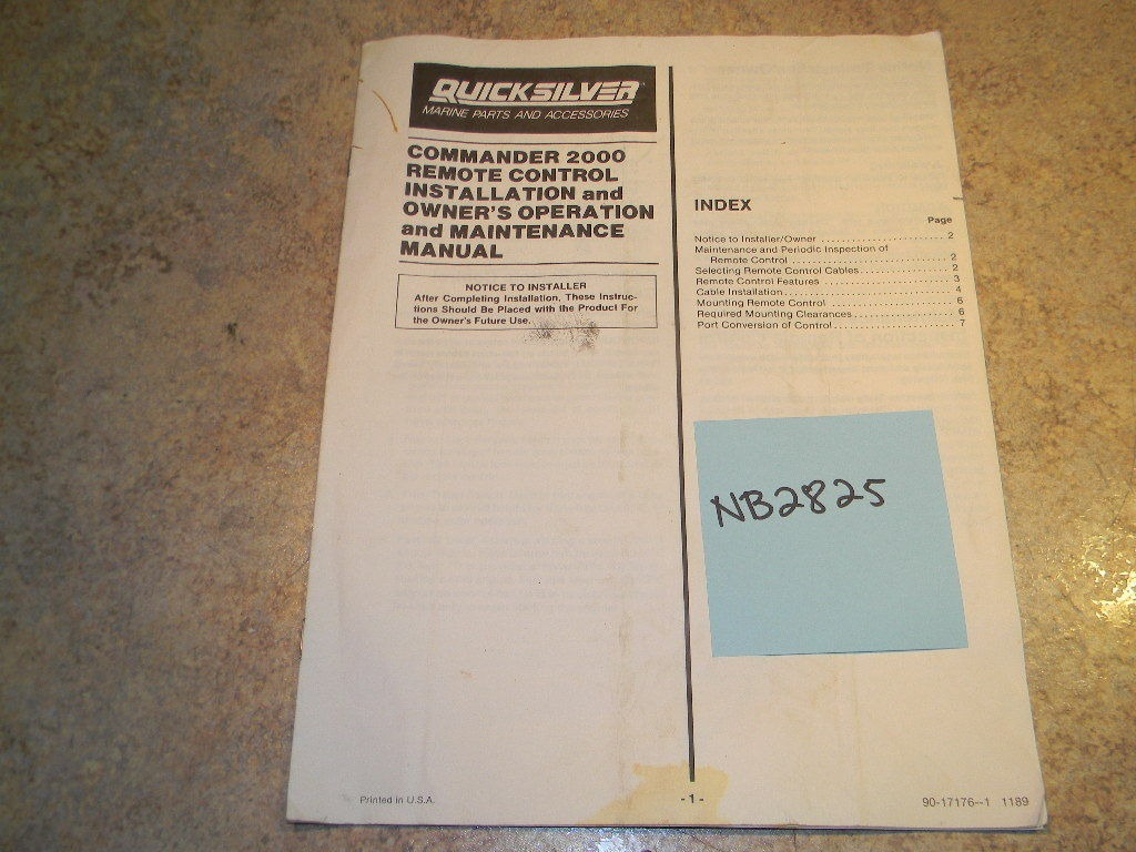 Quicksilver Service manual remote control