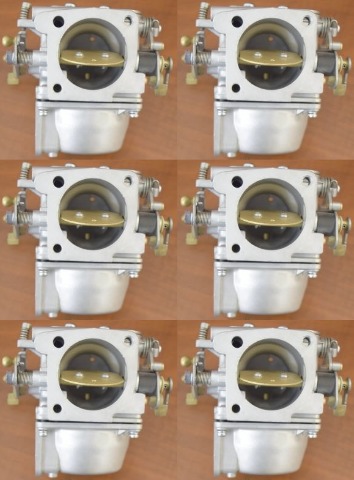 CLEAN! Early 90's Yamaha Carburetor Set of 6 C# 61A-621046 225 250 HP