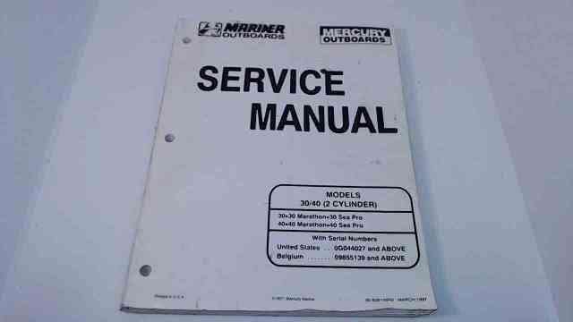 90-82614R2 Mercury Mariner Service Manual 30/40 HP (2 Cyl) Serial# 0G044027 & Up