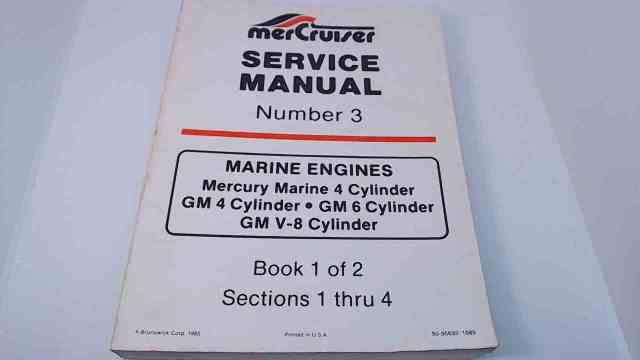 90-95693 MerCruiser Service Manual #3 Book 1 of 2 Marine Engines 4,6,V-8 Cylinder