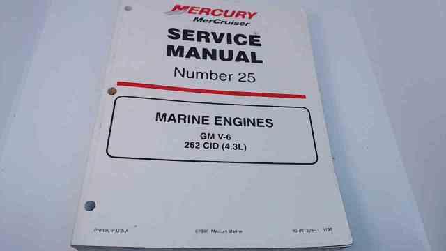 90-861328-1 MerCruiser Service #25 Manual Marine Engines GM V6 262 CID (4.3L)